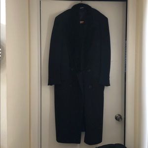 Other - Long vintage men's wool coat with fur trim